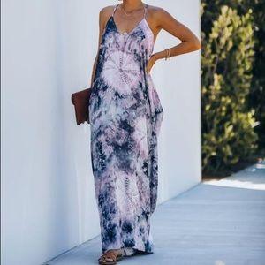 Vici Charcoal Pink Tie Dye Drapw Maxi Dress